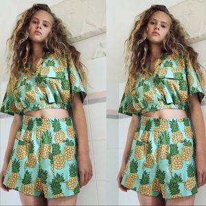 Zara pineapple print crop top and shorts set